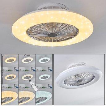 Ventilateur de plafond Piraeus LED Blanc, Titane, 1 lumière, Télécommandes