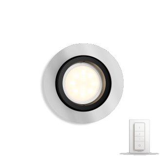 Spot encastrable, kit d'extension Philips Hue Ambiance White Milliskin Argenté, 1 lumière, Télécommandes