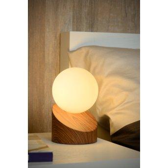 Lampe de table Lucide LEN Bois foncé, 1 lumière