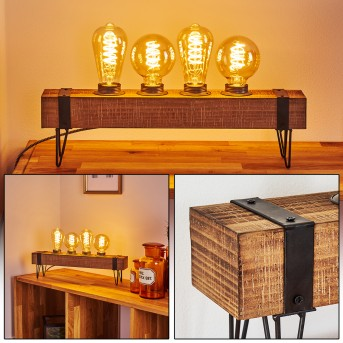 Lampe de table Montgomery Noir, Bois clair, 4 lumières