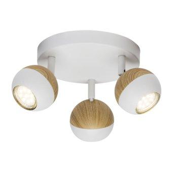 Plafonnier rond à spots Brilliant Scan LED Blanc, Bois clair, 3 lumières