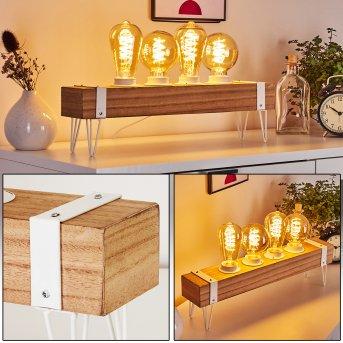 Lampe de table Torrevieja Blanc, Bois clair, 4 lumières