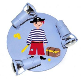 Plafonnier rond Waldi Pirat Bleu, 3 lumières