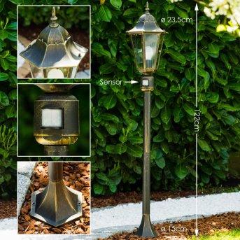Lampadaire extérieur Bristol Laiton, Or, 1 lumière, Détecteur de mouvement