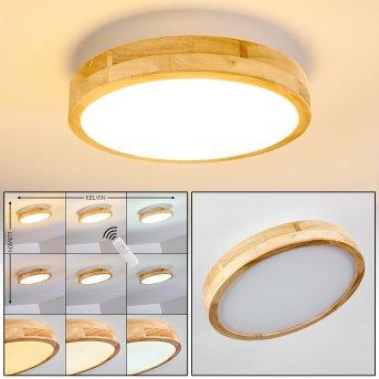 Plafonnier Bagaha LED Bois clair, 1 lumière, Télécommandes