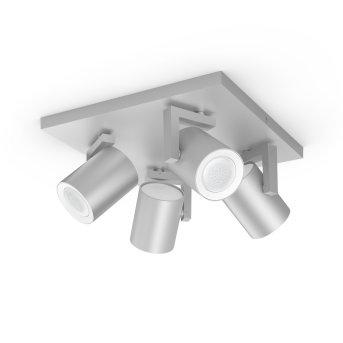 Spot pour plafond et mur, kit d'extension Philips Hue Ambiance White & Color Argenta Argenté, 4 lumières, Changeur de couleurs
