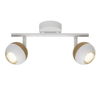 Plafonnier Brilliant Scan LED Blanc, Bois clair, 2 lumières