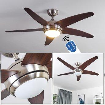 Ventilateur de plafond Imon Nickel mat, Bois foncé, 1 lumière, Télécommandes