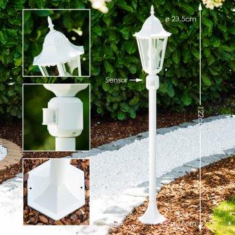 Lampadaire extérieur Bristol Blanc, 1 lumière, Détecteur de mouvement