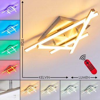 Plafonnier Eriz LED Nickel mat, 4 lumières, Télécommandes, Changeur de couleurs