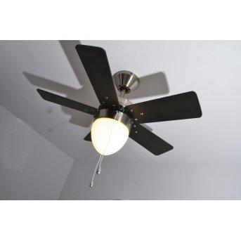 Ventilateur Globo MARVA Nickel mat, Gris, Acier inoxydable, Blanc, 1 lumière