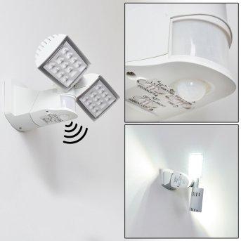 Applique murale d'extérieur Loit LED Blanc, 2 lumières, Détecteur de mouvement