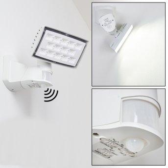 Applique murale d'extérieur Loit LED Blanc, 1 lumière, Détecteur de mouvement