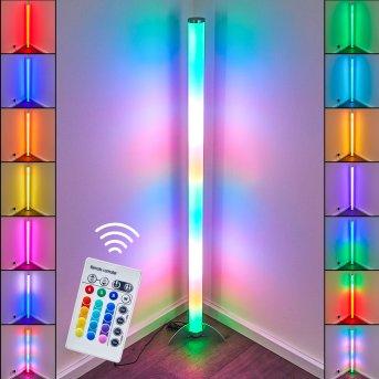 Lampadaire LED RGB Globo ROCKY Argenté, 1 lumière, Télécommandes, Changeur de couleurs