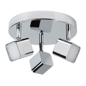 Plafonnier Searchlight QUAD LED Chrome, Blanc, 1 lumière