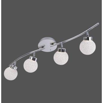 Plafonnier Leuchten Direkt MIKO LED Chrome, 4 lumières, Télécommandes, Changeur de couleurs