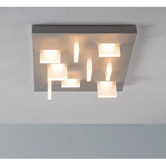 Plafonnier Escale Sharp LED Nickel mat, 9 lumières