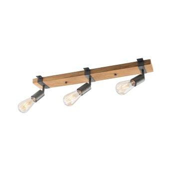Plafonnier Leuchten-Direkt SLAT Brun, Bois foncé, 3 lumières