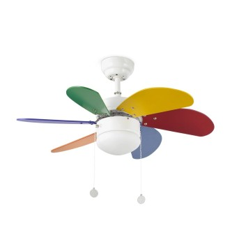 Ventilateur de plafond à lampe Faro Barcelona Palao Blanc, 1 lumière
