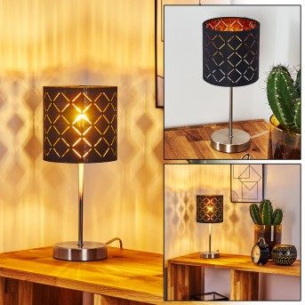 Lampe de table Meldal Nickel mat, Noir, 1 lumière