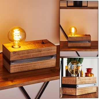 Lampe de table Montgomery Noir, Bois foncé, 1 lumière