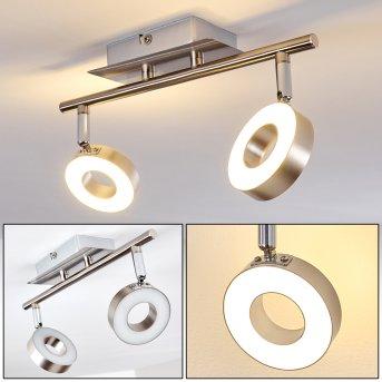 Spot de plafond Russell LED Nickel mat, Chrome, 2 lumières