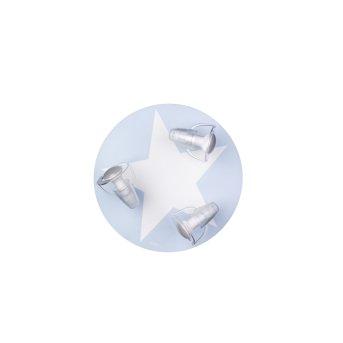 Plafonnier Waldi Mimbel Bleu, Blanc, 3 lumières