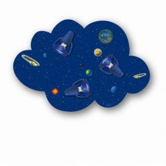 Plafonnier Waldi Wolke Weltall Bleu, 3 lumières