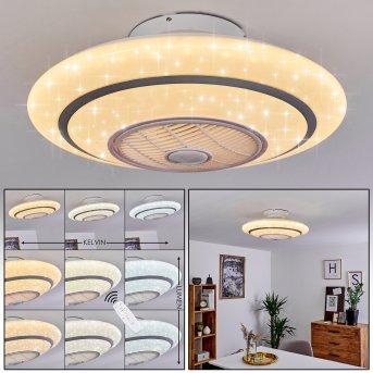 Ventilateur de plafond Sitges LED Blanc, 1 lumière, Télécommandes