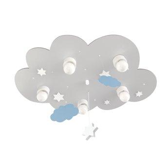 Plafonnier Waldi Cloudi Gris, Blanc, 5 lumières