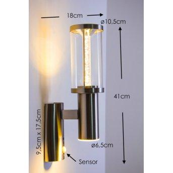 Applique extérieure Popoyan LED Acier inoxydable, 2 lumières, Détecteur de mouvement