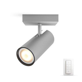 Spot de plafond, kit de base Philips Hue Ambiance White Buratto Argenté, 1 lumière, Télécommandes
