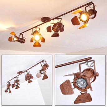 Spot de plafond Lichinga Rouille, 4 lumières
